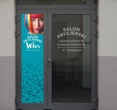 Oprawa graficzna wejścia do salonu fryzjerskiego